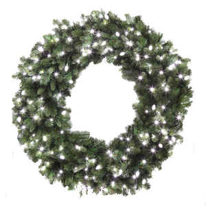 Celebrations  Prelit Green  LED Decorated Wreath  48 in. Dia. Pure White