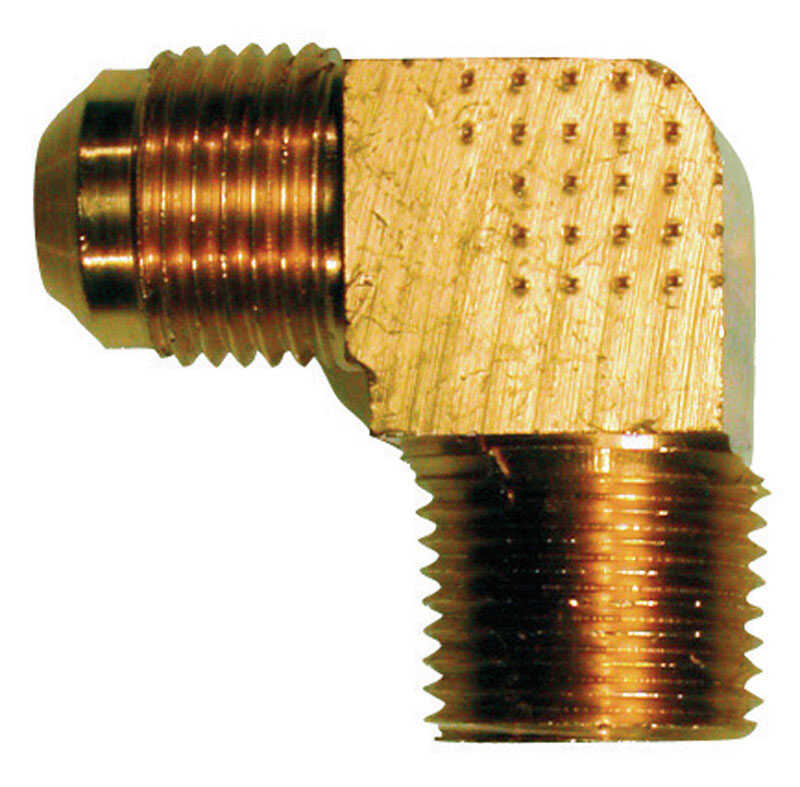 JMF  1/2 in. Dia. x 1/2 in. Dia. Flare To Male  90 deg. Brass  Flare Elbow
