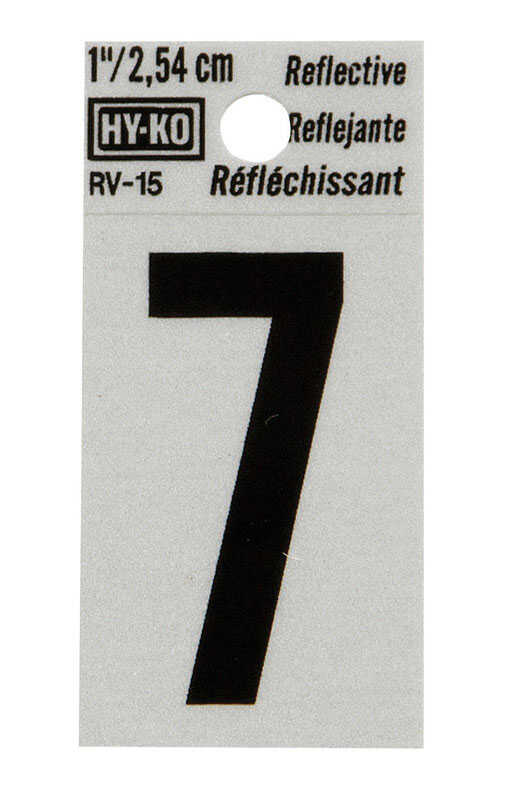 Hy-Ko  1 in. Vinyl  7  Number  Self-Adhesive  Black  Reflective