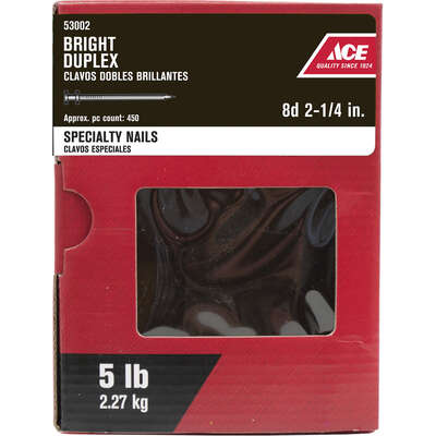 Ace  8D  2-1/4 in. Duplex  Bright  Nail  Double  5 lb.