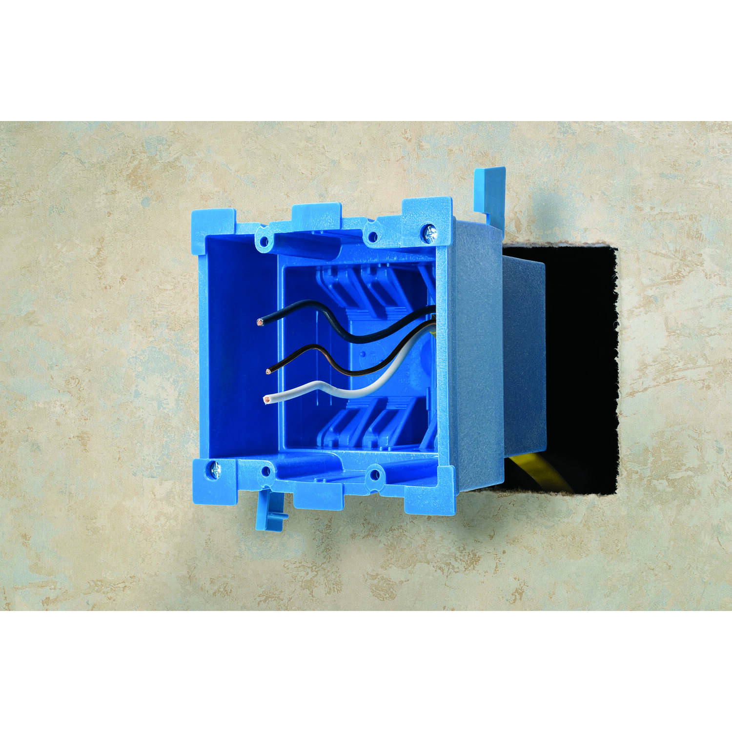 Carlon  Super Blue  3-7/8 in. Square  Thermoplastic  2 gang Outlet Box  2 Gang  Blue