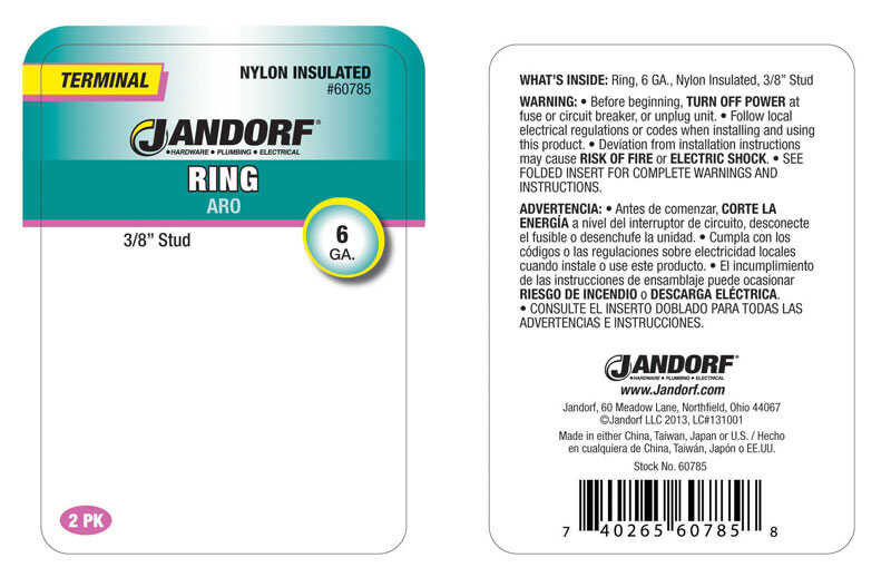Jandorf  6 Ga. Insulated Wire  Terminal Ring  Blue  2 pk