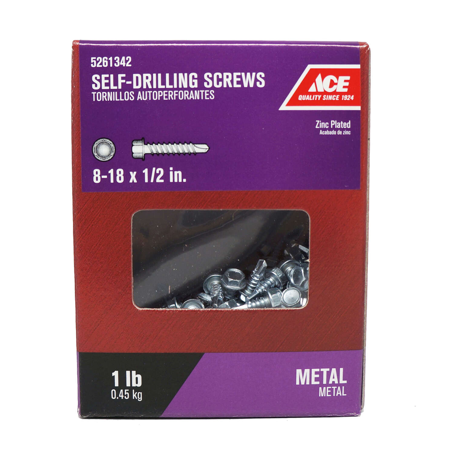 Ace  No. 8-18   x 1/2 in. L Hex Washer Head Zinc-Plated  Steel  Self- Drilling Screws  1 lb.