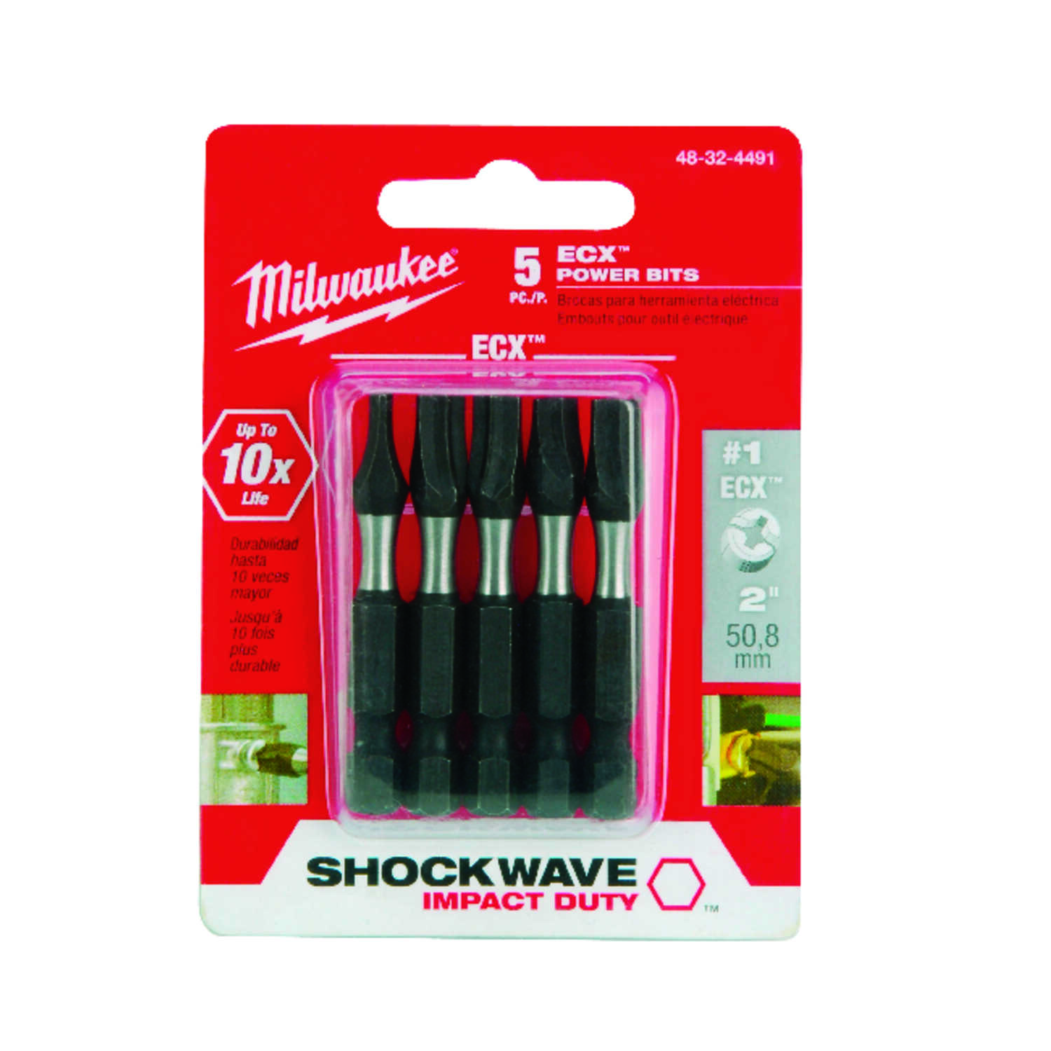 Milwaukee  SHOCKWAVE  ECX  2   x 2 in. L Impact Duty  Impact Power Bit Set  Alloy Steel  Hex Shank