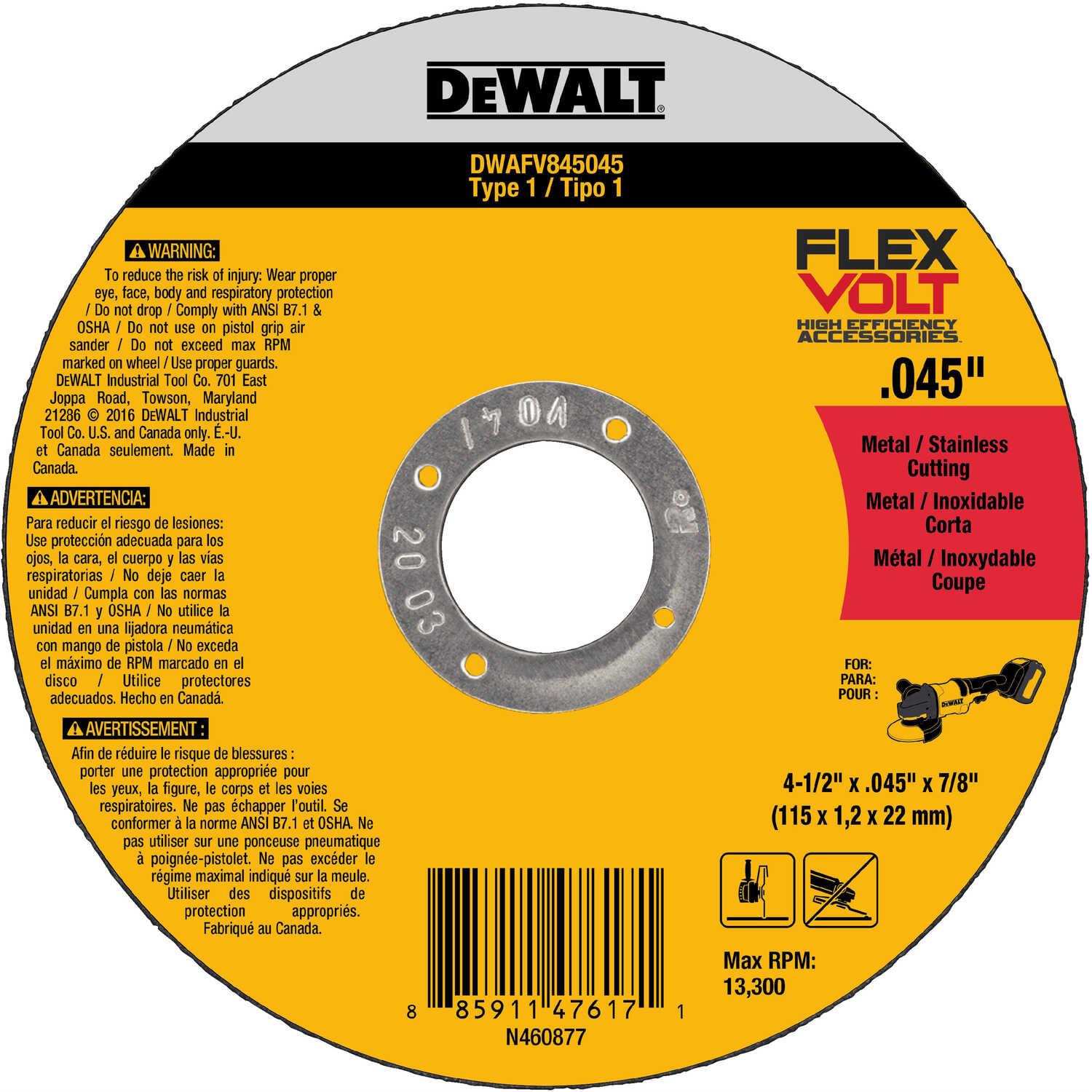DeWalt  FlexVolt  4-1/2 in. 7/8 in. in.  Ceramic  Cut-Off Wheel  5 pc.
