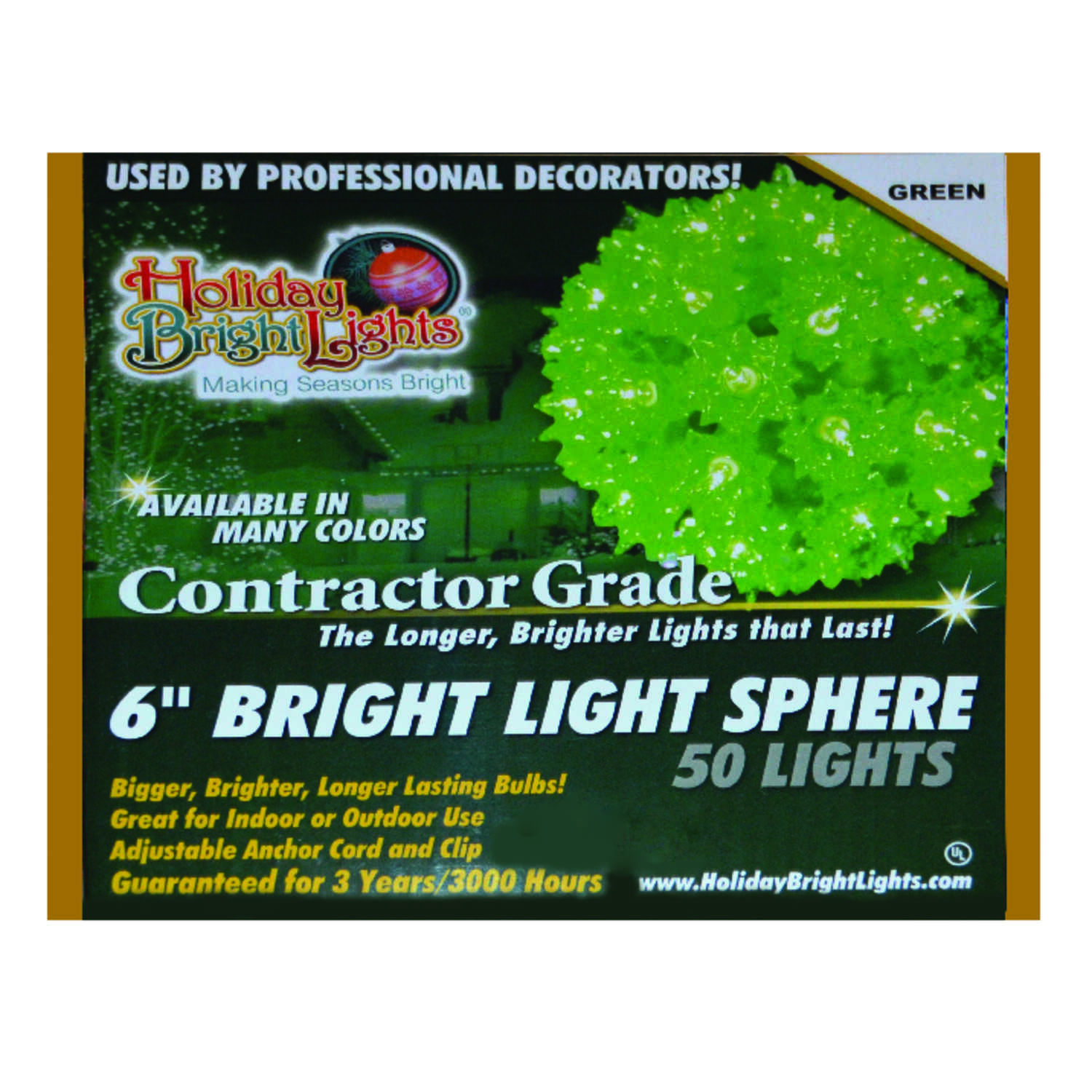 Holiday Bright Lights  Incandescent  Contractor  Sphere Light  Green  12 ft. 50 lights