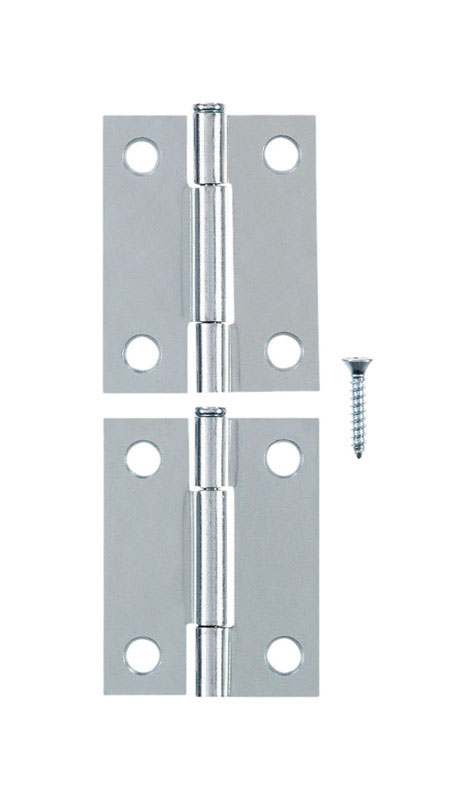 Ace  2.75 in. W x 2 in. L Chrome  Steel  Narrow Hinge  2 pk