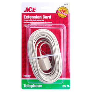 Ace  25 ft. L Ivory  Modular Plug to Jack Extension Line Cord
