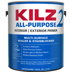 Kilz 2  White  Water-Based  Primer and Sealer  For All Surfaces 1 gal.