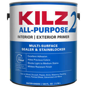 Kilz 2  White  Water-Based  Primer and Sealer  1 gal. For Brick, Painted Metal, Glossy Surfaces, Dry