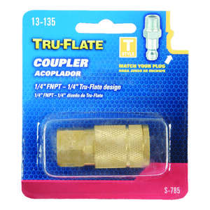 Tru-Flate  Brass  Quick Change Coupler  1/4 in. 1/4  Female  1/4  1 pc. FNPT  Female