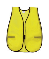 MCR Safety  Polyester  Safety Vest  Fluorescent Green  One Size Fits All