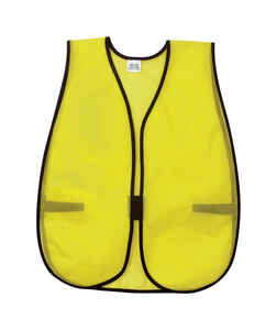 MCR Safety  Safety Vest  Polyester  Fluorescent Green  One Size Fits All  1 pk