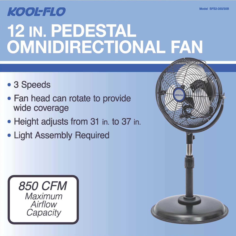 KOOL-FLO Omni 36 04 in  H x 12 in  Dia  3 speed Electric