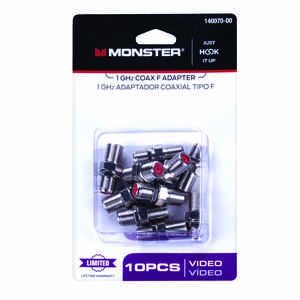 Monster Cable  Just Hook It Up  F-Connector  F  Coax Adapter  10 pk