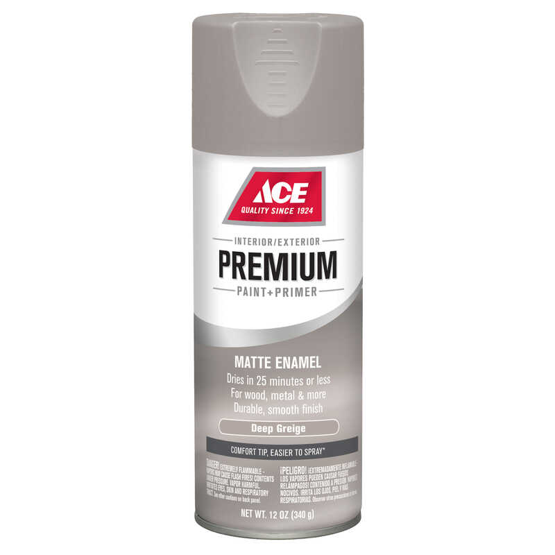 Ace  Premium  Matte  Deep Greige Matte  Paint + Primer Spray Paint  12 oz.