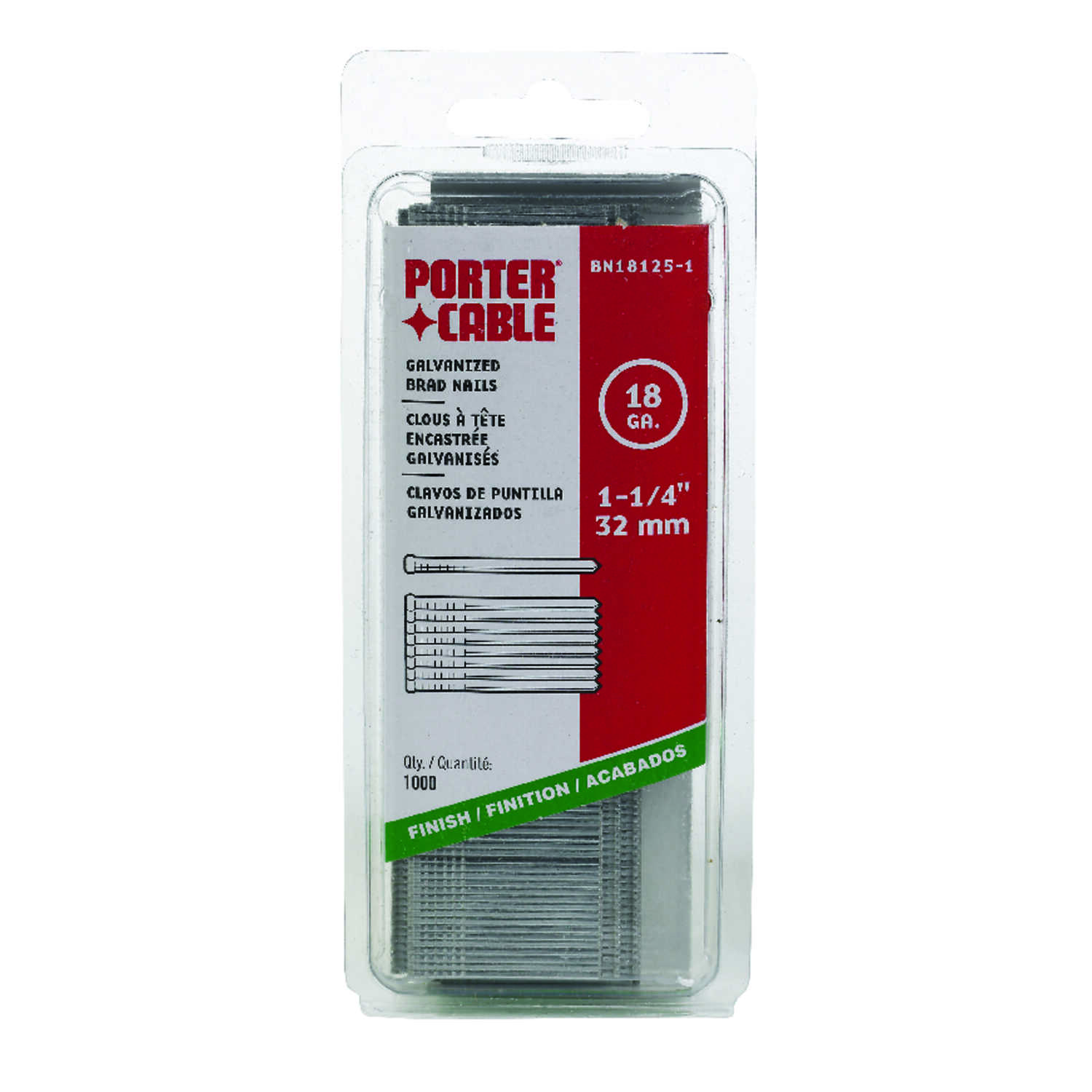 Porter Cable  18 Ga. Smooth Shank  Straight Strip  Brad Nails  1-1/4 in. L 1,000 pk