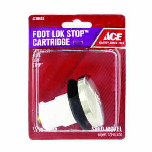 Ace  3/8 in. Dia. Foot Lok Stopper  Nickel  Brushed