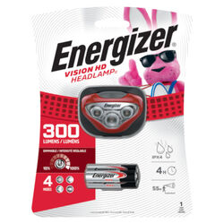 Energizer Vision HD Headlamp 300 lumens Red LED Headlight AAA Battery