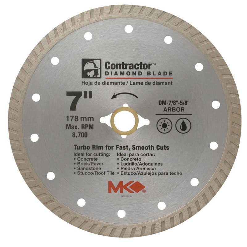 M.K. Diamond  7  Turbo Rim Circular Saw Blade  7/8-5/8  1 pk Contractor  Diamond