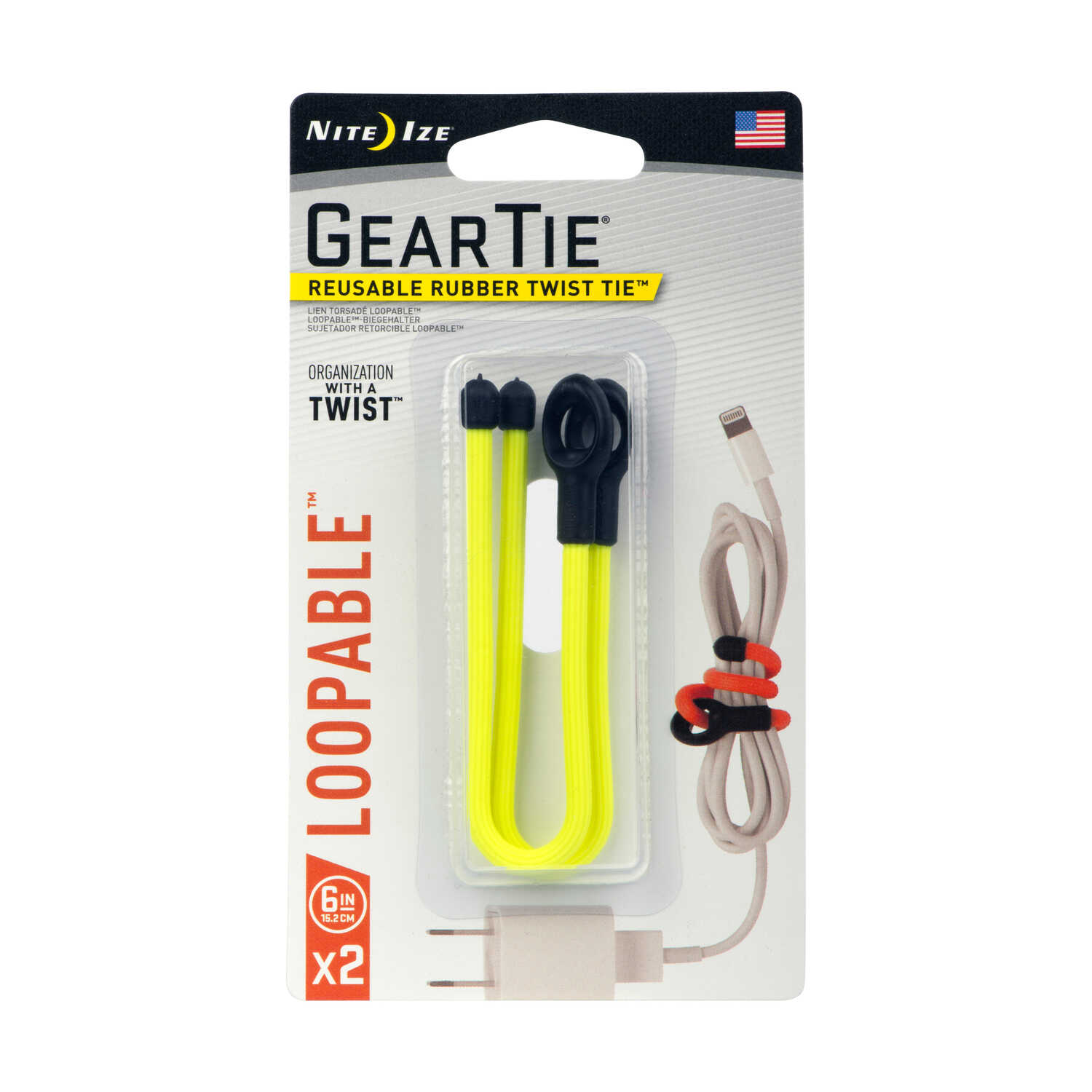 Nite Ize  Gear Tie  6 in. L Yellow  Twist Ties  2 pk