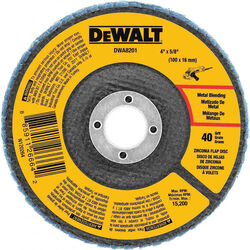 DeWalt  4 in. Dia. x 5/8 in.   Zirconia  Flap Disc  36 Grit 1 pc.