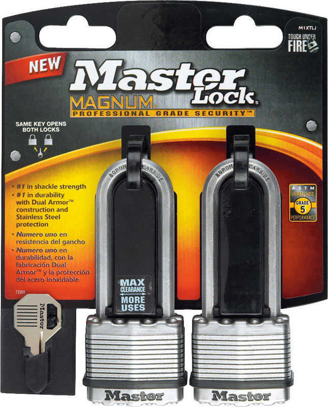 Master Lock  1-9/16 in. H x 1-3/4 in. L x 11/16 in. W Laminated Steel  Dual Ball Bearing Locking  Pa