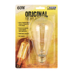 FEIT Electric  The Original  60 watts ST19  Vintage  Incandescent Bulb  E26 (Medium)  Soft White  1
