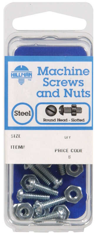 Hillman  No. 10-32 in.  x 1 in. L Slotted  Round Head Zinc-Plated  Steel  Machine Screws  8 pk
