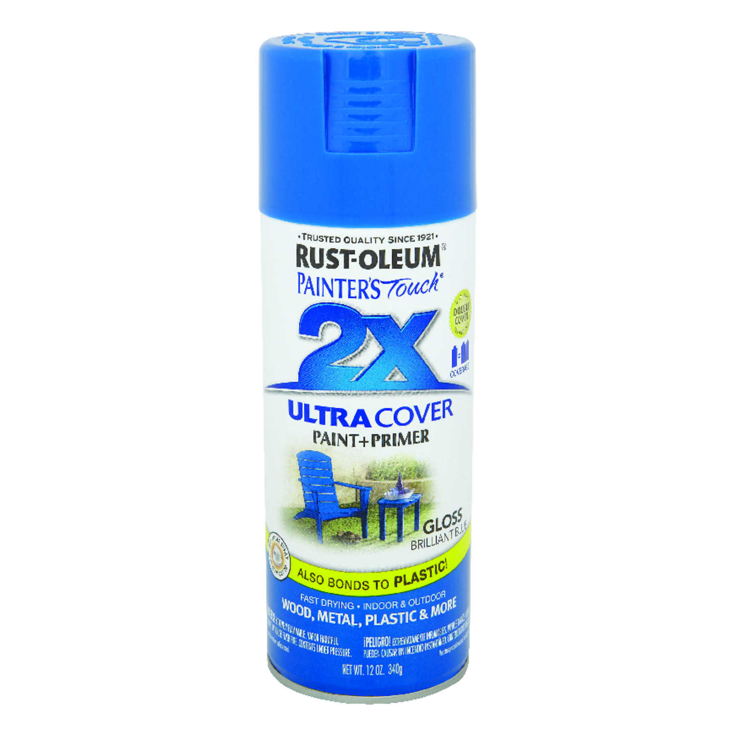 Rust-Oleum  Painter's Touch Ultra Cover  Gloss  Brilliant Blue  Spray Paint  12 oz.