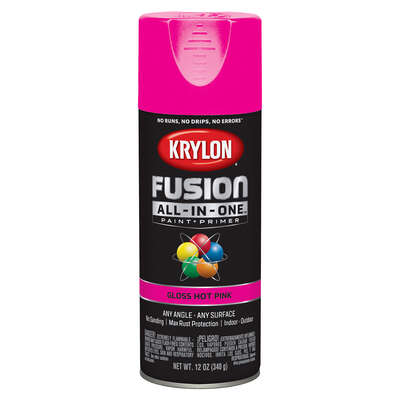 Krylon  Fusion All-In-One  Gloss  Hot Pink  Paint + Primer Spray Paint  12 oz.
