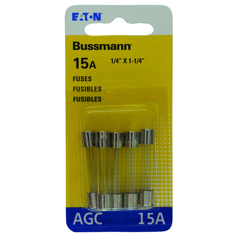 Bussmann 15 amps AGC Glass Tube Fuse 5 pk - Ace Hardware
