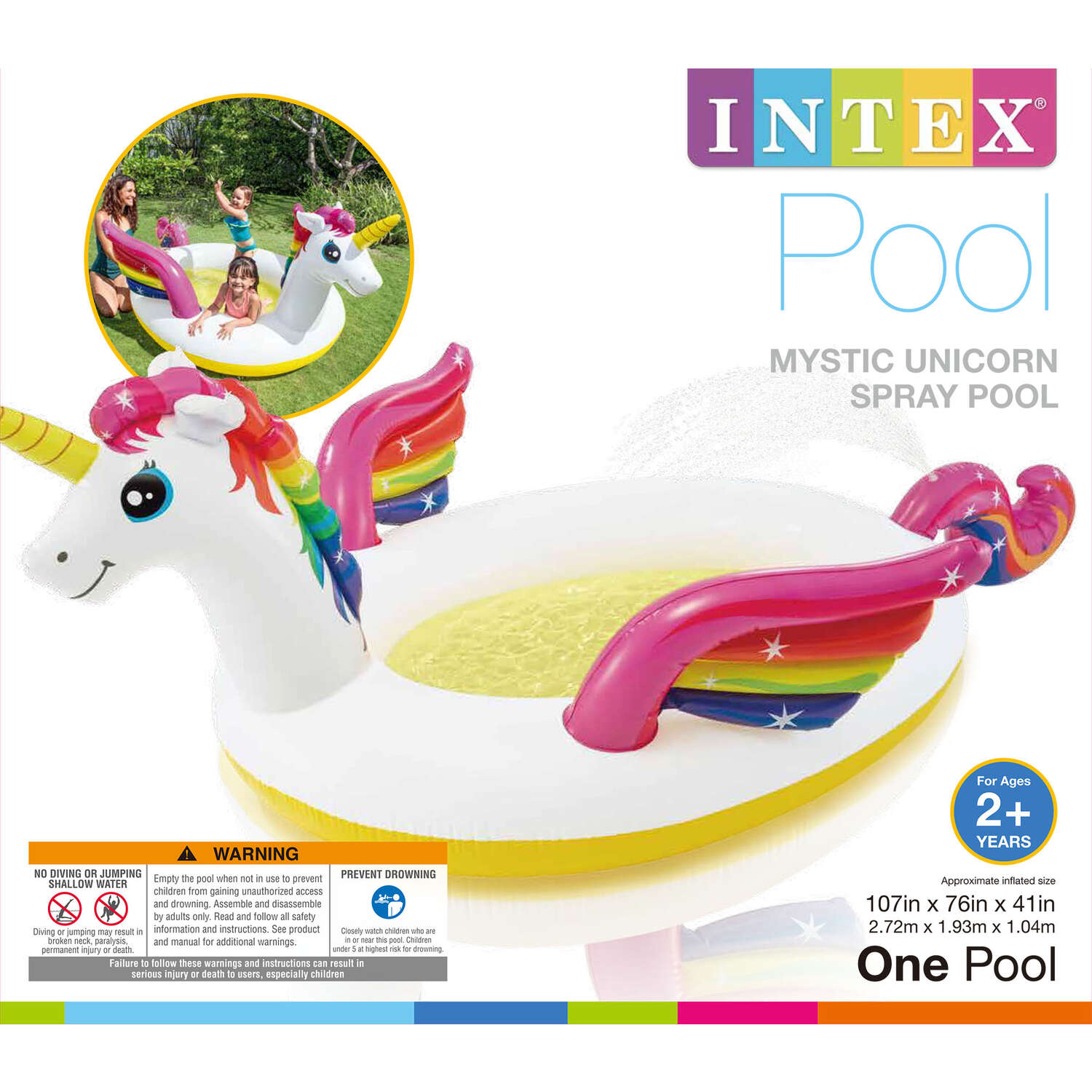 Intex  40 gal. Round  Plastic  Inflatable Pool  41 in. H x 76 in. W x 107 in. L x 6.3 ft. Dia.