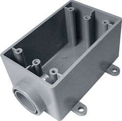 Cantex  2-3/4 in. Rectangle  PVC  1 gang Electrical Box  Gray