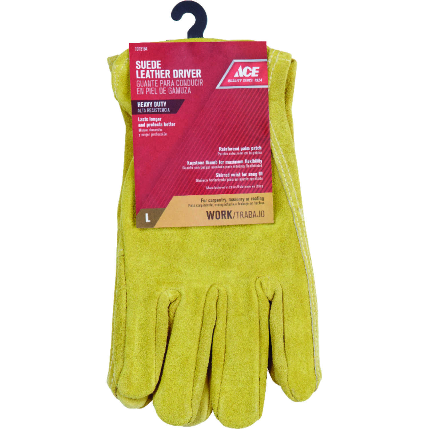 Ace  Large  Suede Cowhide  Driver  Saddletan  Gloves