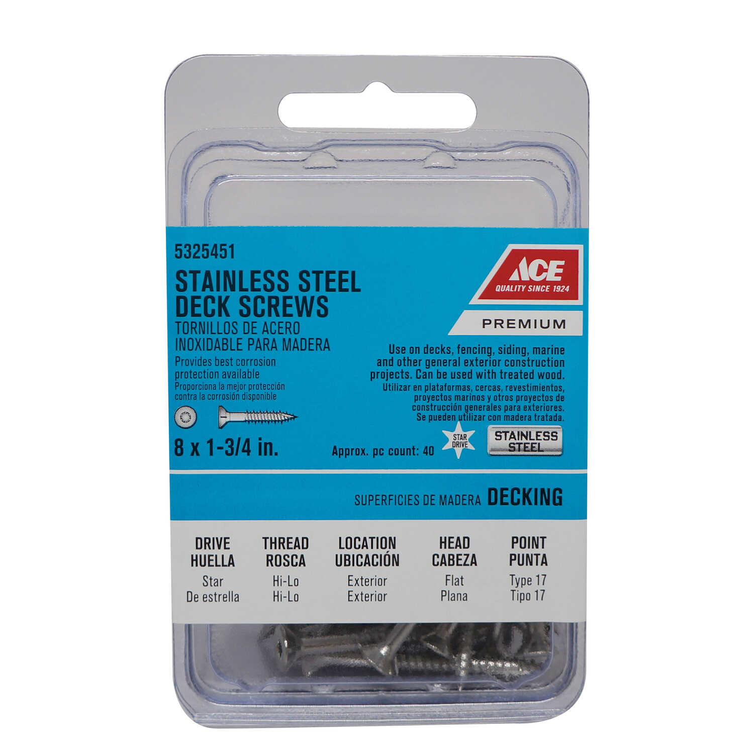 Ace  No. 8   x 1-3/4 in. L Star  Flat Head Stainless Steel  Deck Screws  40 pk