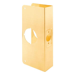 Prime-Line  9 in. H x 3.875 in. L Brass-Plated  Brass  Recessed Door Reinforcer