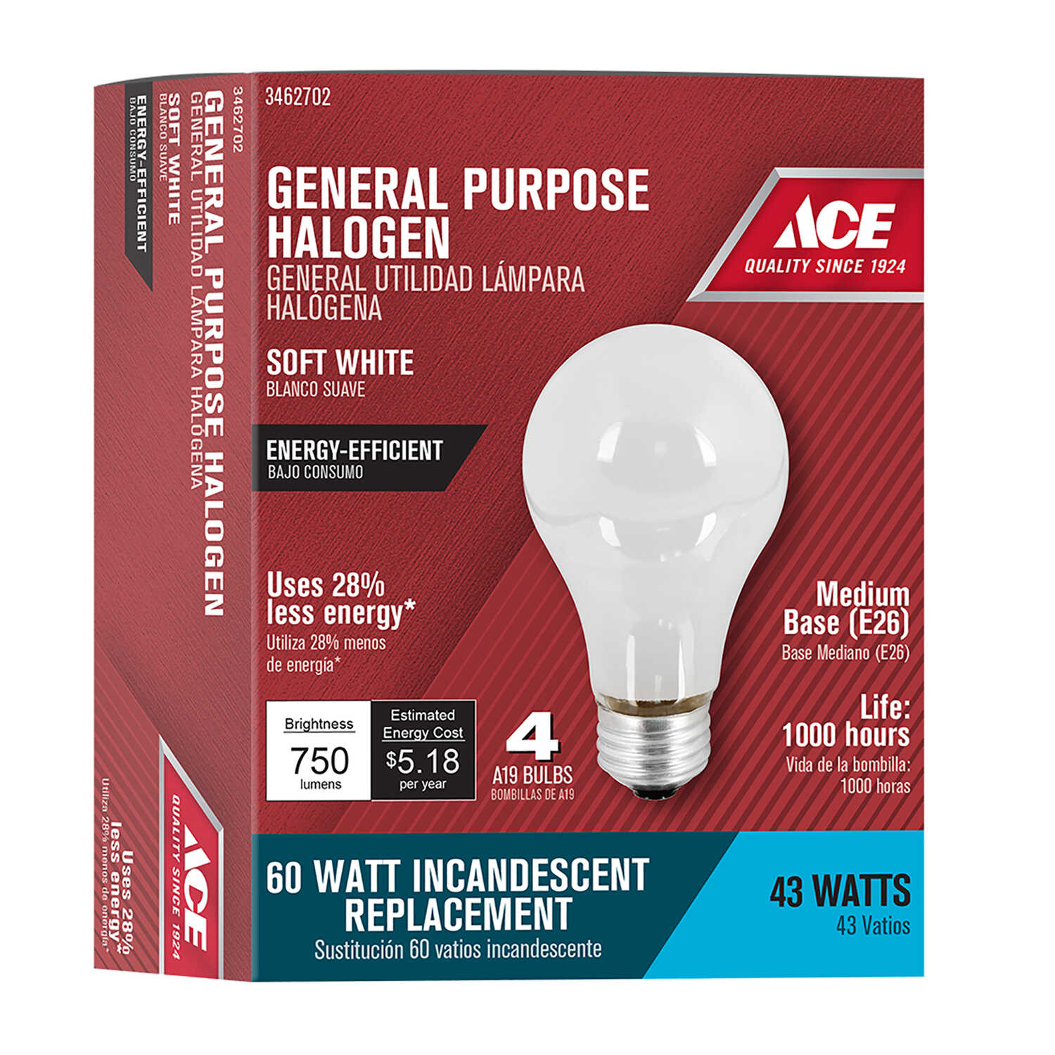 Ace 43 Watts A19 Halogen Bulb 750 Lumens Soft White A Line 4 Pk Hardware
