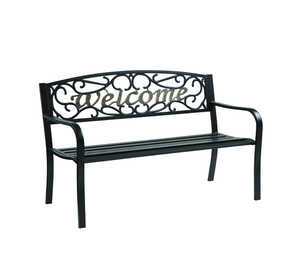 Living Accents  Welcome  Park Bench  23.5 in. L x 33.5 in. H x 50.5 in. D Steel