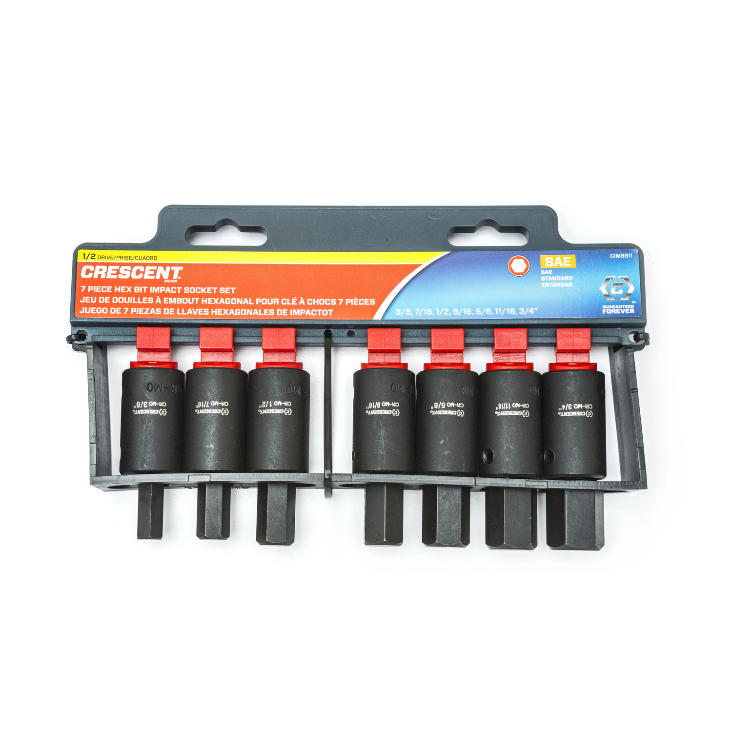 Crescent  Assorted Sizes  x 3//8 in SAE  6  Hex Bit Socket Set  7 pc.