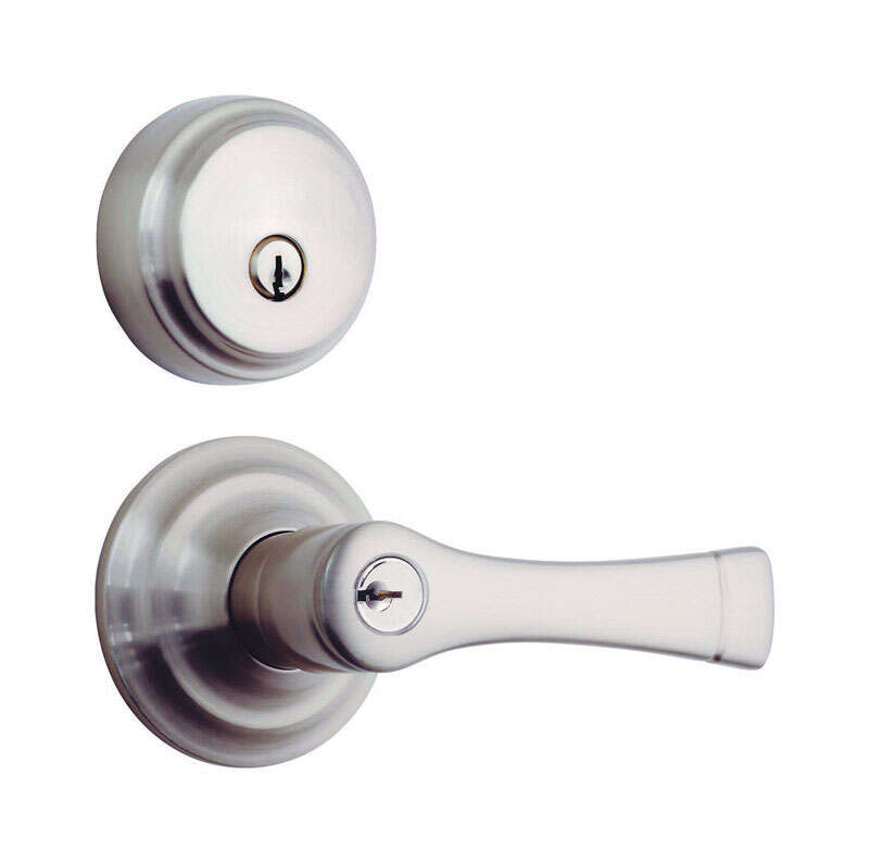 Brinks Push Pull Rotate Harper Satin Nickel Entry Lever and Deadbolt Set ANSI Grade 2 KW1 1.7