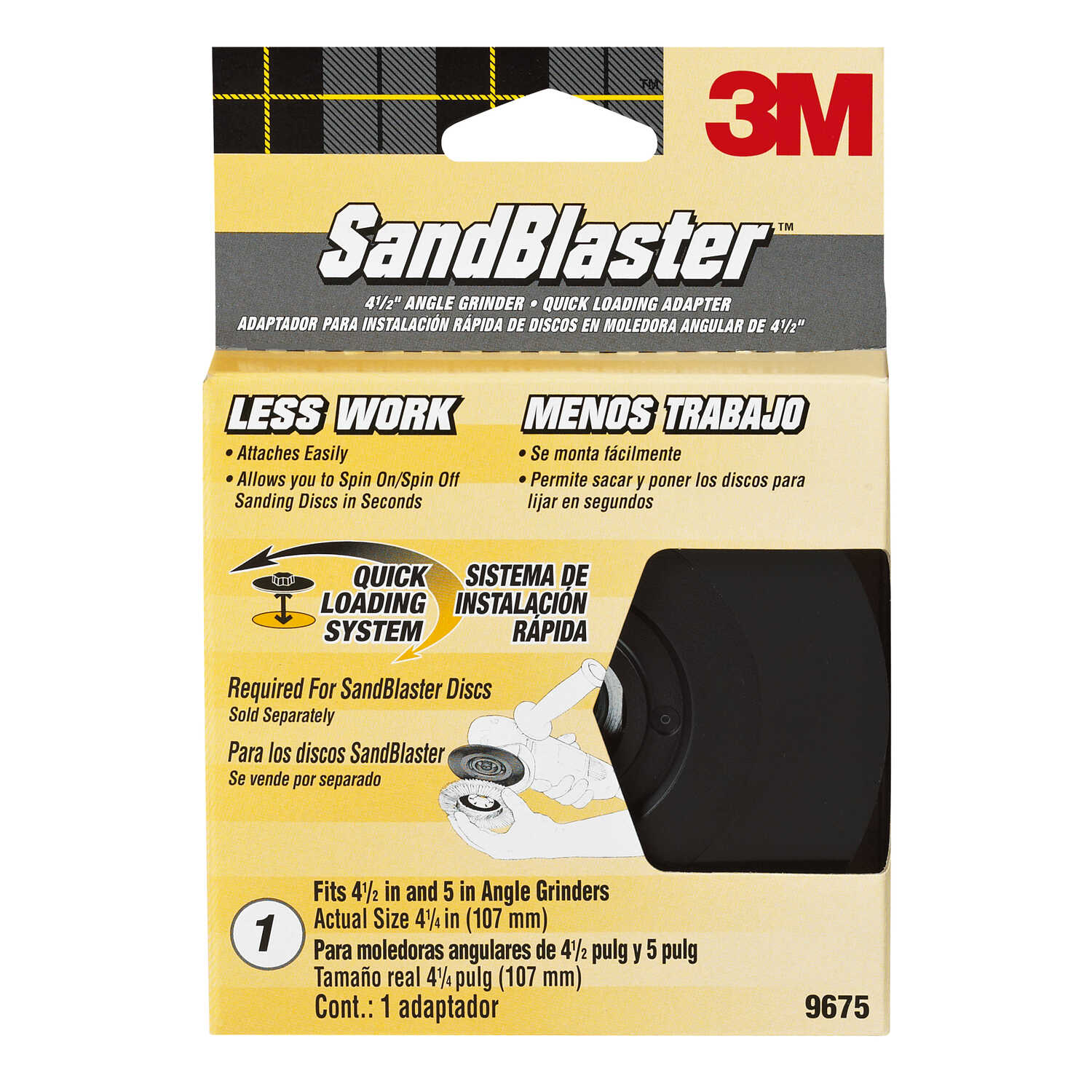 3M  SandBlaster  4.5 in. Ceramic Blend  Bolt-On  Sanding Disc Adapter  1 pk