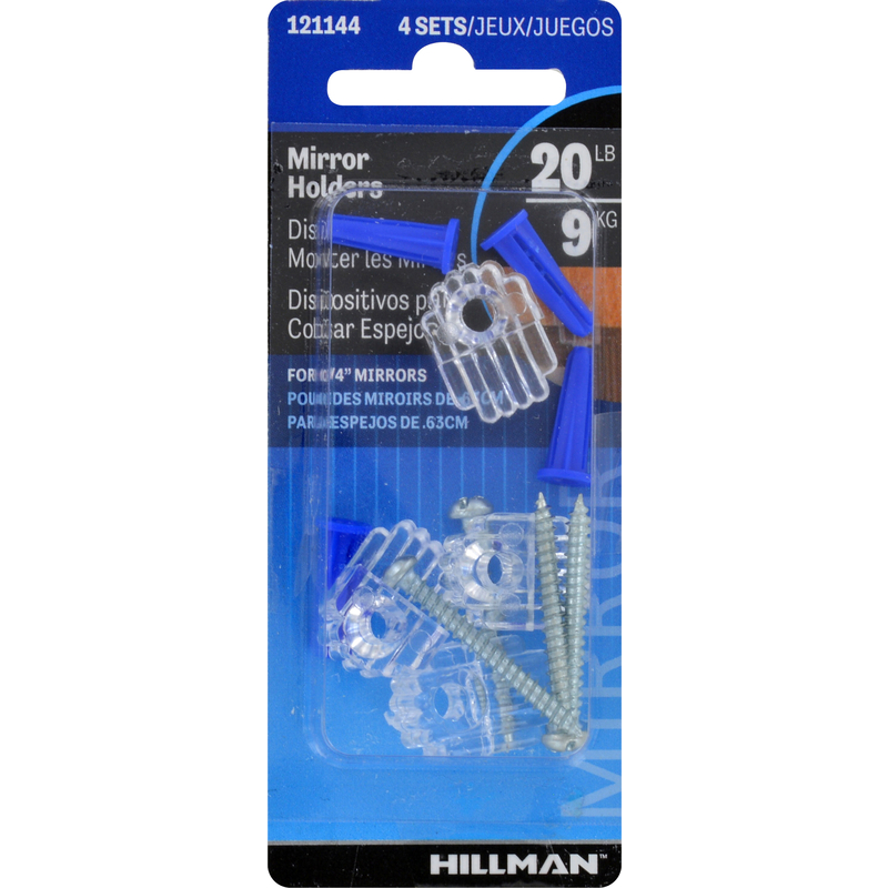 HILLMAN  AnchorWire  Steel-Plated  Acrylic  Mirror Holder Kit  1 lb. 4 pk