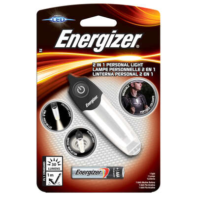 Energizer  30 lumens Black/Silver  LED  Flashlight  AAA Battery