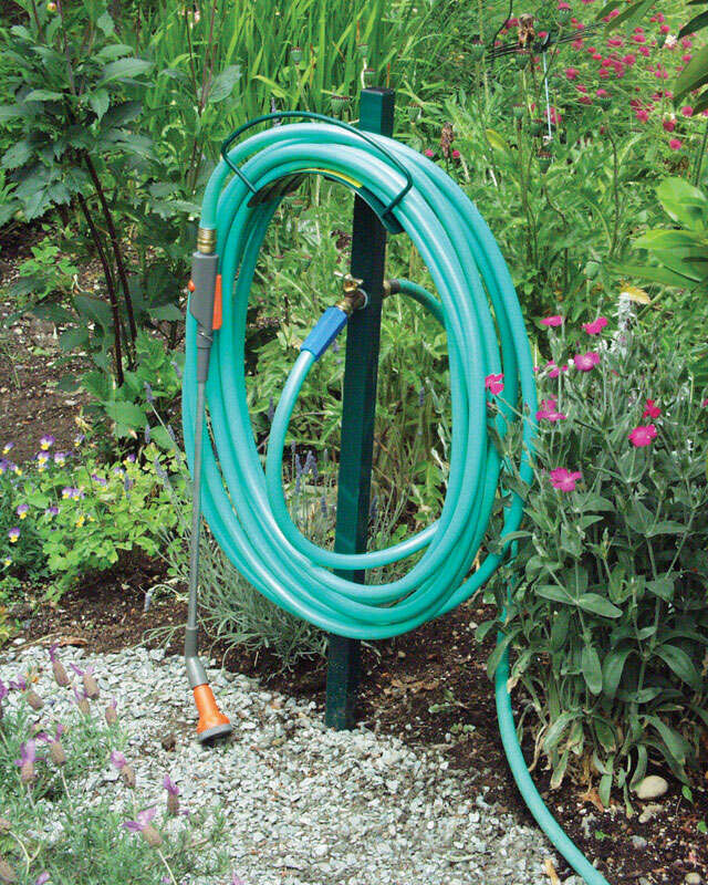 Yard Butler  100 ft. Post Mount  Green  Hose Hanger with Faucet