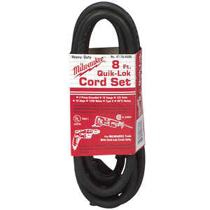 Milwaukee  QUIK-LOK  18/3  125 volt 8 ft. L Power Cord