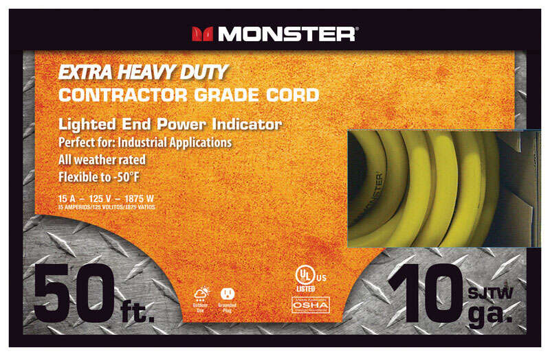 Monster Cable  50 ft. L Yellow  Extension Cord  10/3 SJTW  Outdoor