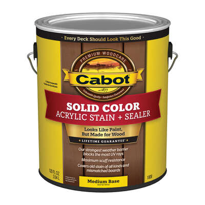 Cabot  Solid  Tintable Medium Base  Water-Based  Acrylic  Deck Stain  1 gal.