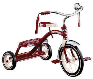 Radio Flyer Dual Deck Tricycle 12 in.. Ages 2-1/2 Chrome, Steel Construction