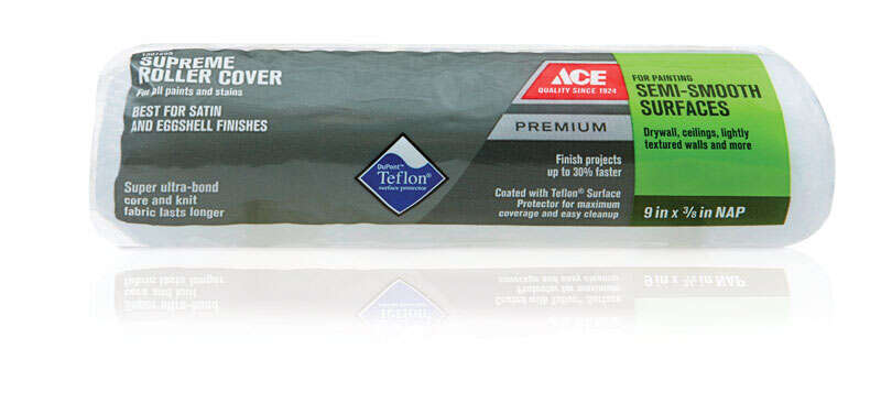 Ace  Premium  Knit  3/8 in.  x 9 in. W Regular  Paint Roller Cover  1 pk For Semi-Smooth Surfaces